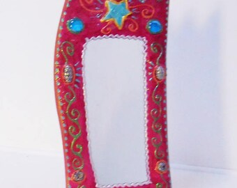 Vanity mirror ' turquoise' 17 star x 37 cm for the bedroom, living room bathroom, it will bring a note