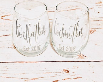 Godparents Gift - Ask Godparents - Godparents wine glasses - Godfather gift - Godmother gift - christening gifts - godparents gifts -baptism