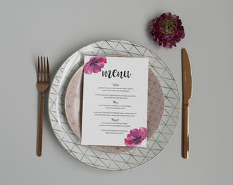 Floral Wedding Menu -  Purple Blooms Wedding Menu - Modern Calligraphy Wedding Menu - Formal Menu - On the Day Stationery - Wedding Day