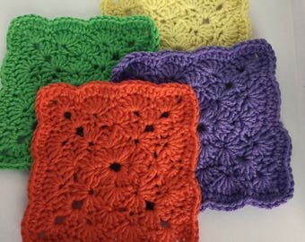 Coasters hand crocheted knitted cotton