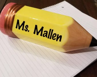 Teacher Name Plate (Flawed)- Pencil Name Plate, Desk name tag, Teacher appreciation gift, Teacher assistant gift, Teacher Pencil Paperweight