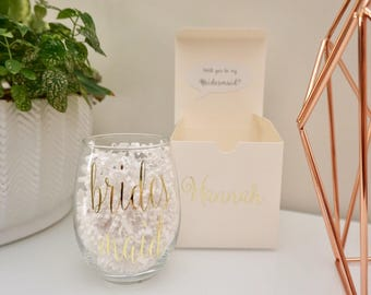 Personalized Wine Glass in Box - Will You Be My Bridesmaid? - 15 oz. | Bridesmaid Proposal Gift Box | Bridal Party Glasses