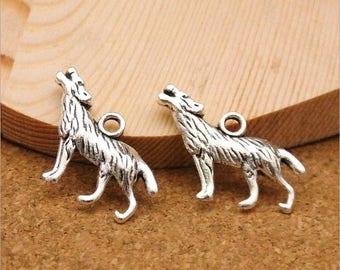 10Pcs Wolf Charms Animal Wolf Charm Pendant Antique Silver Tone Jewelry 26x20mm