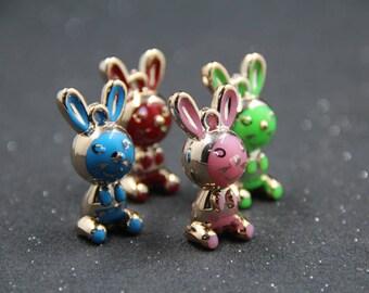 Colorful Animal Rabbit Charms- Kawaii Resin Cabochon - Super Kawaii Little Bunny Shaped Charm Pendant Acrylic or Resin - 5 pc set