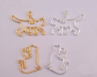 20Pcs Animal Cat Shape Metal Frame Pendant Gold Charm Open Bezel Setting Cabochon Setting UV Resin Charms Jewelry Making Accessories