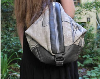 Backpack, convertable backpack, shoulder bag, faux leather, cotton, vintage print