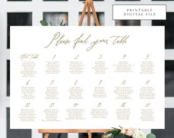 Modern Calligraphy Seating Chart /Table Assignment Chart - Printable DIGITAL Design File