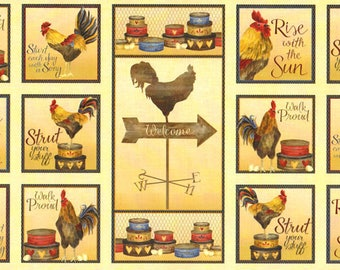 fabric with chickens South Sea Imports fabric Panel