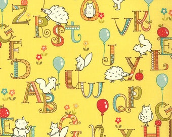 Yellow kids patchwork alphabet with animals by MODA fabric