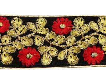 "Black Fabric Trim, Floral Design Indian Trim, Decorative Saree Border, Craft Supplies, 3"" Inch Wide Ribbon By The Yard FT959B"