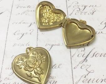 2pcs Heart Locket Charm, Locket charm, Brass, 20mm,