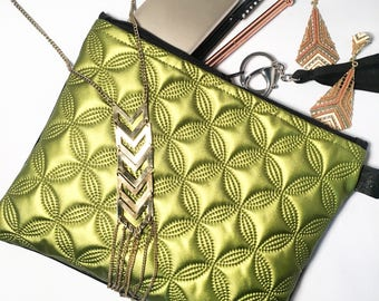 Green metallic quilted Clutch bag