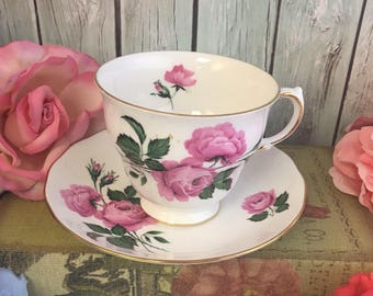 Queen Anne Roses Blooming Tea Cup and Saucer Fine Bone China Vintage Pink on White England Made Lovely EVC Mix Match