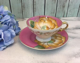 Pink Saji Fancy China Tea Cup and Saucer Yellow Flowers Handpainted Japan Made teacup