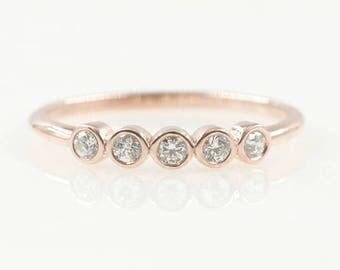 dainty wedding ring14k rose gold diamond wedding bandsimple diamond ring natural - Dainty Wedding Rings