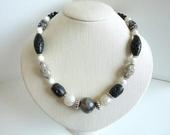 Black, grey and white necklace