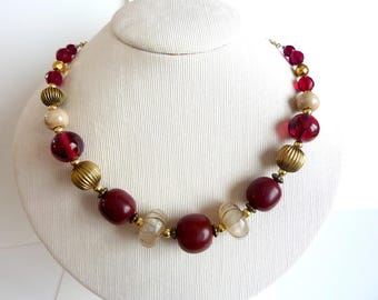 Burgundy and beige necklace