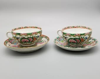 Two of Antique CHINESE Famille Rose Tea Cup&Saucer