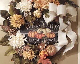 Fall wreath, fall door hanger, welcome   fall wreath, cream fall wreath, thanksgiving wreath, autumn wreath, harvest wreath  ,pumpkin wreath