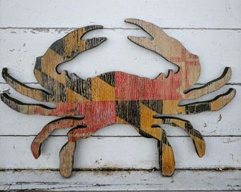 Antiqued Maryland blue crab with MD flag background