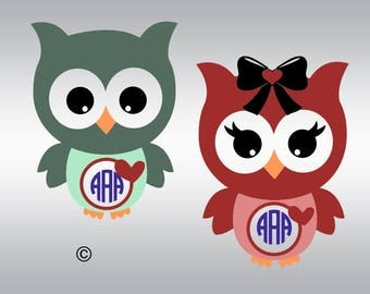 Owl monogram heart SVG Clipart Cut Files Silhouette Cameo Svg for Cricut and Vinyl File cutting Digital cuts file DXF Png Pdf Eps