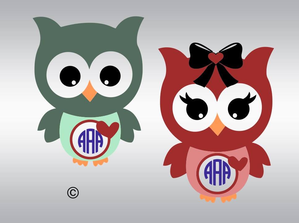 Owl monogram heart SVG Clipart Cut Files Silhouette Cameo Svg