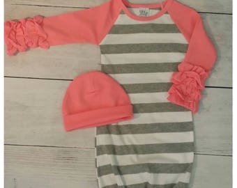 Monogrammed infant gown, matching hat,  newborn, going home outf