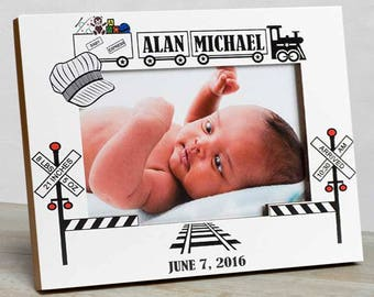 Personalized Baby Picture Frame, Baby Boy Picture Frame, New Baby Boy Frame, Baby Boy Frames, Baby Boy Birth Frames, Train Baby Frame