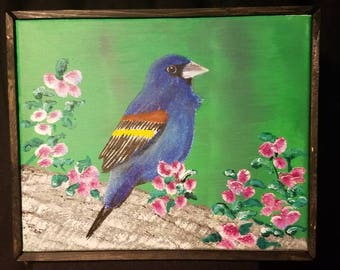 Blue Bird with Pink Flowers