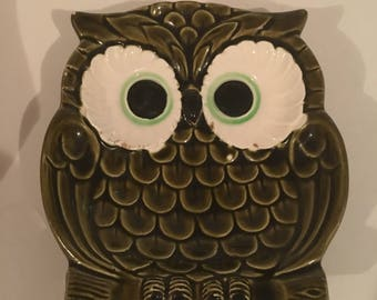 Vintage Ceramic Owl Ashtray