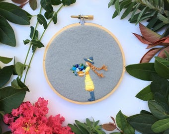 Girl with flowers, Hand Embroidery Hoop Art, Stitched Art, Home Decor, Embroidery hoop,Fibre Art, Wall Hanging,Needlework,Sewing,Multicolor