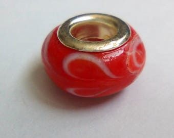 Pearl red silver heart 13mm