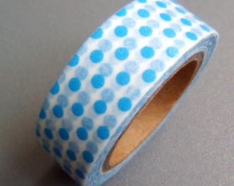 Masking tape 10 m blue white polka dots