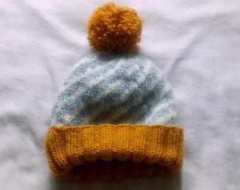 Knit Beanie Hat in Golden Fog // Winter Hat with Pom Pom