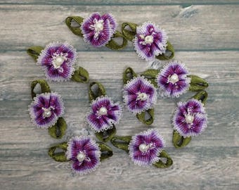 Purple Fabric Flower Embellishments, Craft Supplies, Card making, Appliques,