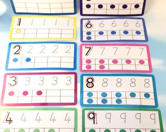 Tracing numbers flash cards, Nursery, Early years, arrows, Learning cards, EYFS, Children's development, Pre-school, Education cards