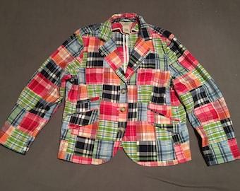 LL Bean 14 petite womens patchwork multicolor blazer super cute light jacket
