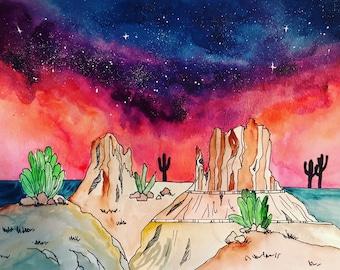 Desert watercolor / sedona / original painting / adventure / wanderlust / travel art