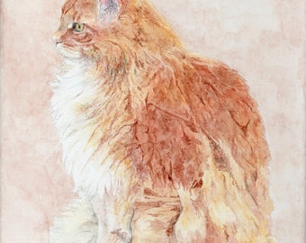 Custom Cat Watercolor Portrait on Canvas/Gifts for Cat Lovers/Custom Pet Painting