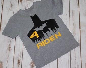 Batman Birthday Shirt- Gotham City-Custom Birthday Shirts- Batmab Birthday Party-Unique Batman Shirt- 3rd Birthday