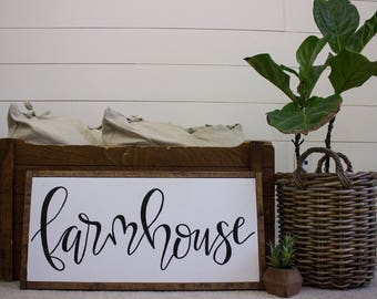 Farmhouse sign - framed sign - hand lettered sign - fixer upper - hand painted sign - farm house decor