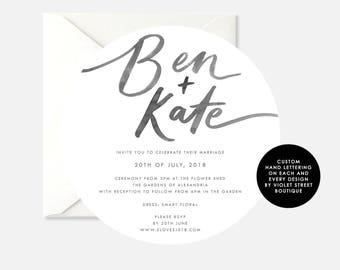 Printable Circle Wedding Invitation, Modern Hand Lettered Wedding Invitation, Calligraphy Wedding Invite, Printable Wedding Invitation, Grey