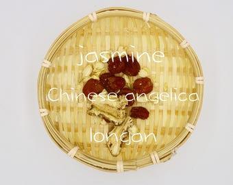 Jasmine Herbal Tea w/ Angelica Root (Dang Guai) + Longan Fruit Tisane - 10 Bags - Relaxing, Ease Anxiety / Stress, Aid Sleep, Boost Immunity
