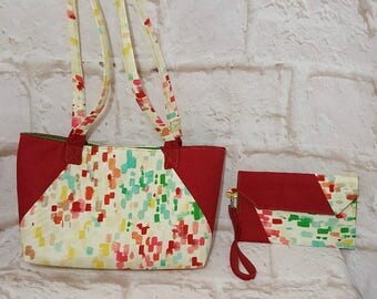 Color splash purse set - Handmade purse set - Green bag - Handbag - Color splash  print - Red print - Handmade - Fabric bag - Double strap