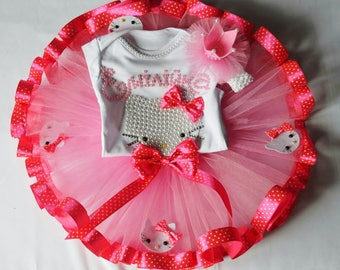 Pink Hello Kitty 1st Birthday Outfit, Onesie Personalized, Hello kitty inspired tutu dress, Hello Kitty Tutu Set, Customize in any Colors