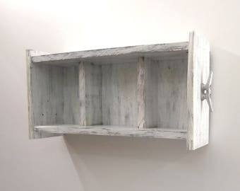 White Open Shelving Unit–Shelves for Nursery Room–Shabby Chic Decor Baby Shelf–White Chunky Nursery Shelves–2 Tier Shabby Chic Wall Shelves
