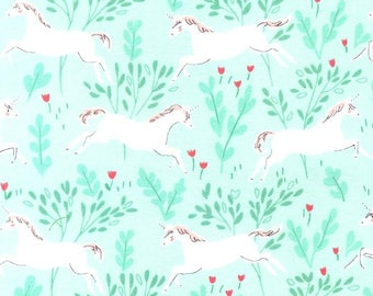 Unicorn Fabric - Michael Miller KNIT Fabric - Sarah Jane Magic - White Unicorn in Aqua Forest - Unicorn Forest KNIT - Cotton Stretch Fabric
