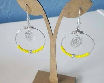 Creole earrings Silver earrings with pearls