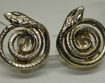Vintage Whiting and Davis Earrings 3-D Coiled Snakes Signed Numbered Clip On Gold Tone 1950's