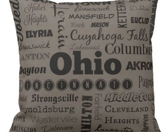 Ohio cities pillow - OH typography throw pillow - red or gray decorative pillow - Ohio cushion - gift